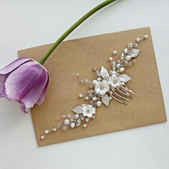 Свадебное украшение для волос, веточка в прическу, гребень, гребешок в прическу на выпускной