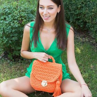 Рюкзак оранжевый вязаный
