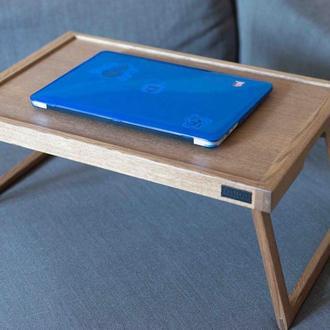 Столик-поднос на складных ножках для ноутбука из дуба