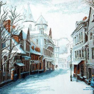 """Картина вышитая крестом """"Зимний проспект"""""""