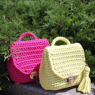 Рюкзак лимонный вязаный