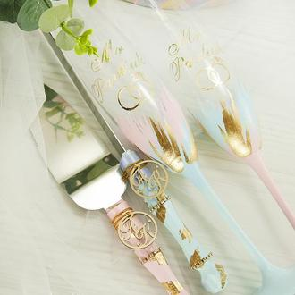 Свадебные бокалы розовые / Фужеры для свадьбы голубые