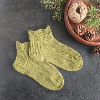 Зелёные вязаные носки с узором, женские носки