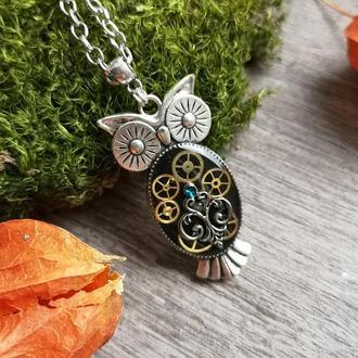Стимпанк кулон сова