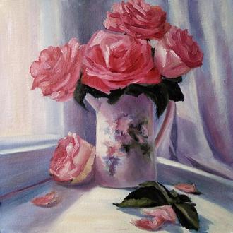 Картина маслом живопис квіти троянди на вікні