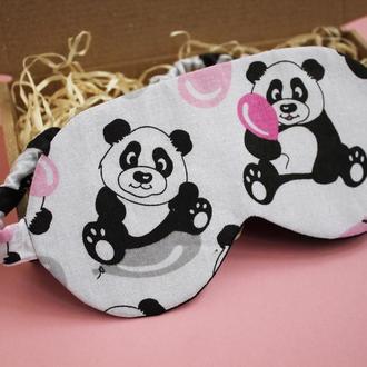 Маска для сну - панди київ, пайові подарунки Київ, пов'язка на очі київ, маска для сну зірки