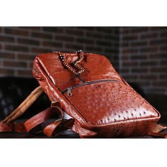 Рюкзак из кожи страуса Рыжий