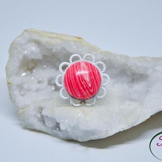 Кольцо с родохрозитом