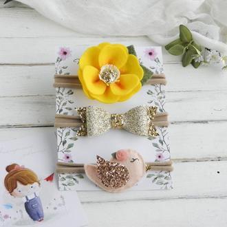Повязки для девочки с цветком, птичкой и золотым бантиком / Набор повязок для малышки