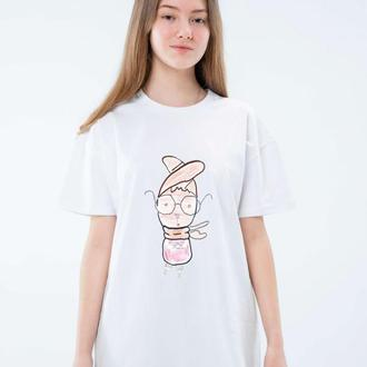 Женская белая и черная футболка унисекс с оригинальным принтом рисунком