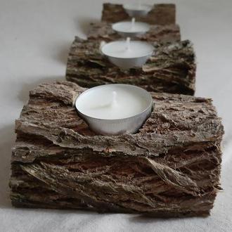 Деревянный Подсвечник на одну чайную свечу Полено с Корой Свадебный Деревенский Декор