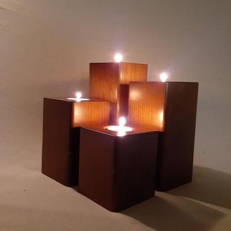 Набор квадратных деревянных подсвечников 4 шт Напольный подсвечник Столбик для чайной свечи