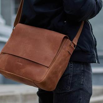 Мужская повседневная сумка из натуральной кожи с репсовым ремнем