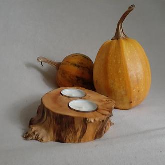 Деревянный подсвечник на 2 чайные свечи Подсвечник из натурального дерева круглый Сруб  Пень