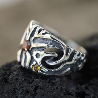 """Широкое серебряное кольцо с Гранатом """"RAIN"""""""