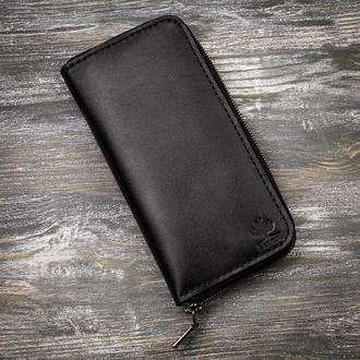 Черный кожаный большой мужской длинный кошелек портмоне