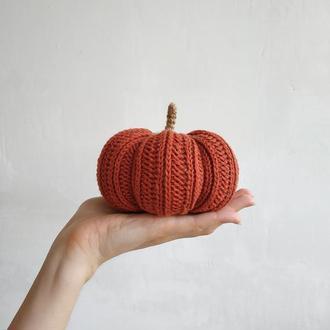 Интерьерная декоративная терракотовая тыква, вязаная еда