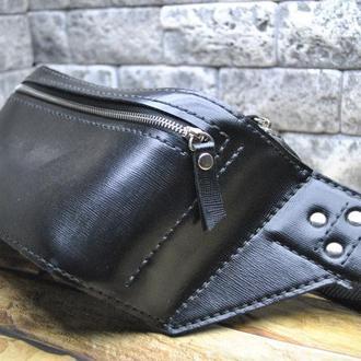 Черная поясная сумка из кожи сафьяно PS01-0
