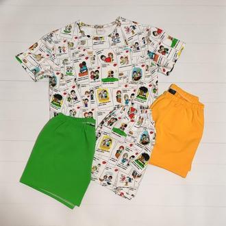 Женская трикожная пижама с футболкой и трема видами шорт Love is