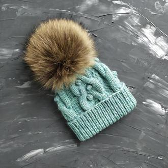 Вязаная шапка, детская шапка с помпоном