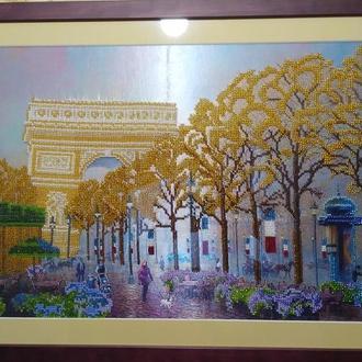 """Картина бисером. """" Осень в Париже""""."""