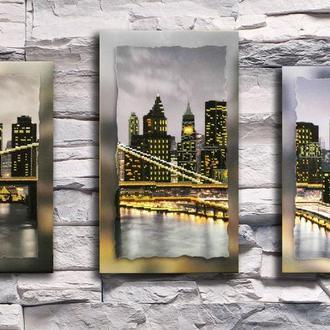 """Картина триптих вышитая бисером на подрамнике """"Нью-Йорк"""" от Натальи Пушки"""