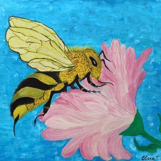 """Картина маслом """"Пчела и Цветок"""""""