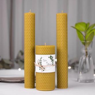 Свадебный набор свечей из вощины