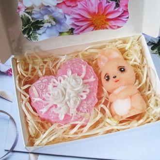 """Подарочный оригинальный набор сувенир ручной работы """" Зайка и сердце"""""""