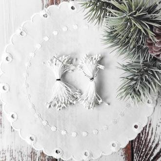 Тычинки белые в блестках 50 (100) шт