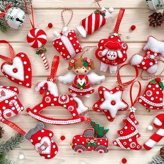 Новогодний набор елочных игрушек в красном цвете! Корпоративный новогодний набор елочных украшений!