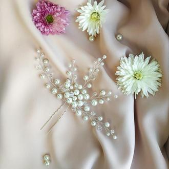 Шпилька в прическу невесты, прикраса у волосся нареченої