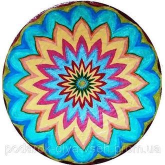 """Декоративная тарелка диаметром 40 см """"Сияние"""" из шамотной трипольской глины"""