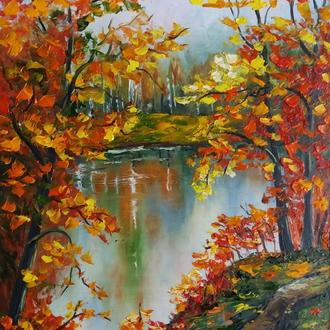 Картина маслом осенний пейзаж