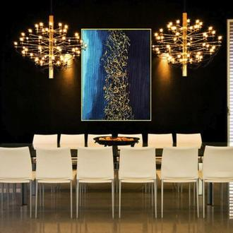 """Голубая абстрактная живопись с золотой поталью """"Затерянный мир"""""""