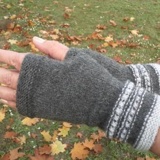 Митенки. Перчатки без пальцев. Вязаные перчатки