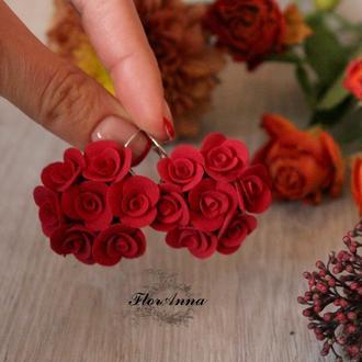 Красные серьги розы из полимерной глины. Красивый подарок девушке.