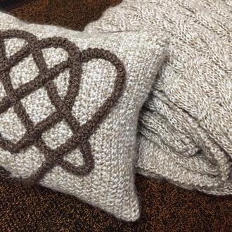 Вязаный комплект *Мраморный* ( плед  + подушка).