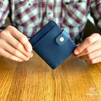 Мужской кошелек с отделением для монет из натуральной фактурной кожи синего цвета
