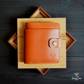 Мужской кошелек с отделением для монет из натуральной кожи светло коричневого цвета