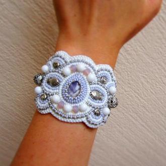 Нежно фиолетовый браслет с аметистом