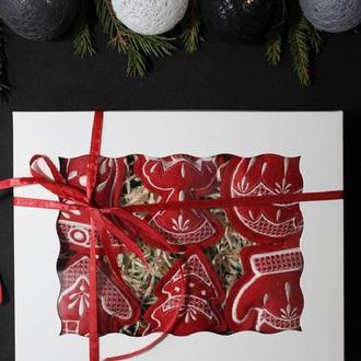 Набор елочных игрушек 'Рождественский' бордовый