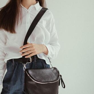 Стильна чорна шкіряна сумка. Сумка-кроссбоди з натуральної шкіри