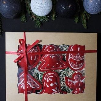 Набор елочных игрушек 'Рождественский' бордовый №2