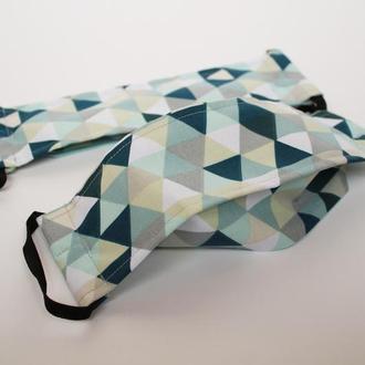 Многоразовые двухслойные маски Хмельницкий, маска геометрия Киев, тканевая маска для лица Киев