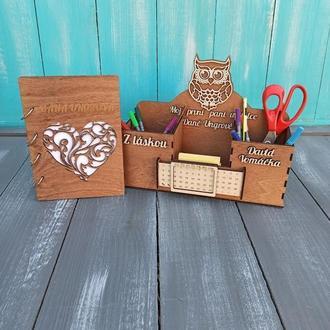 Деревянный набор с гравировкой, блокнот именной с гравировкой, органайзер для канцелярии