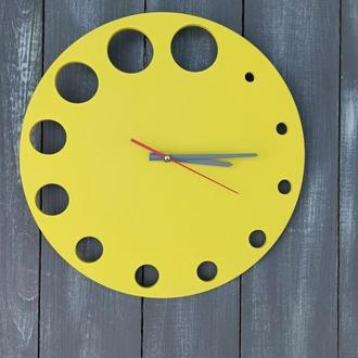 Деревянные настенные часы желтого цвета в стиле минимализм, настенные часы под заказ