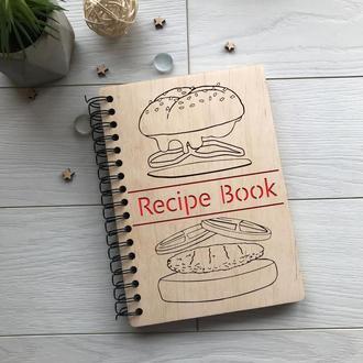 Деревянная записная книга на пружине для кулинарных рецептов