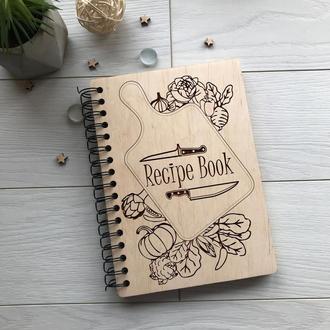 Деревянная кулинарная книга для записи рецептов на спирали