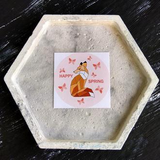 Весенний стикер с геометрической Лисичкой 8шт. Авторская наклейка Весна. Стикер для блокнота с Лисой